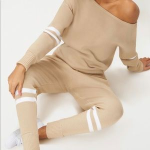 PRETTYLITTLETHING KNITTED JOGGER LOUNGE SET